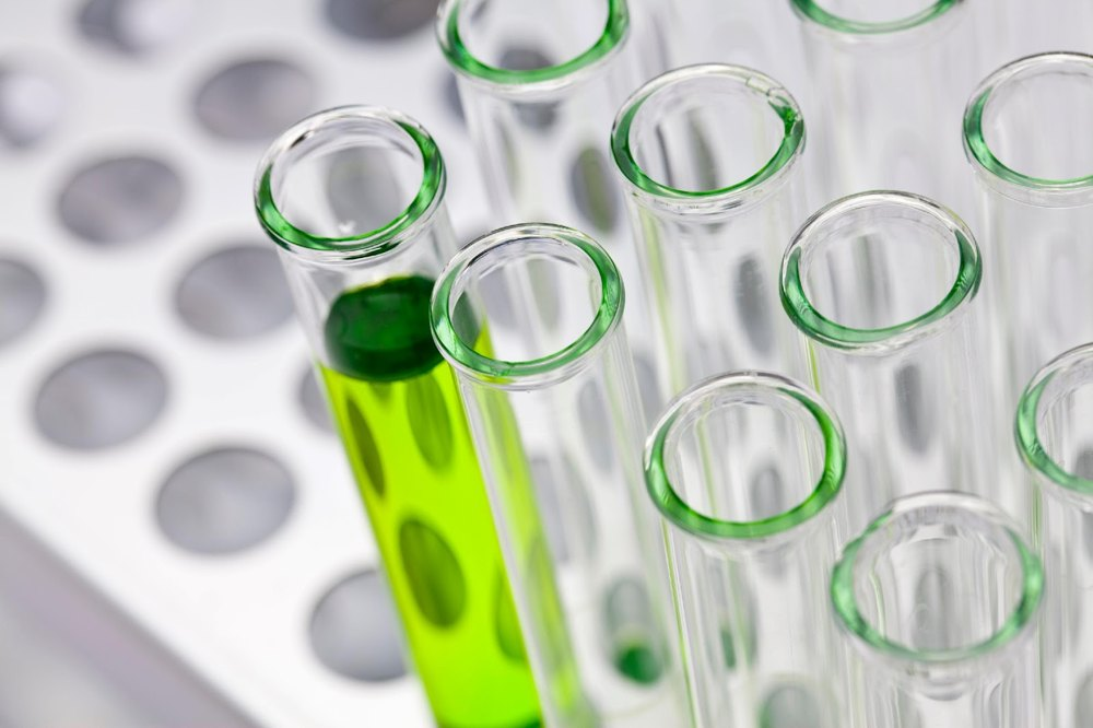 Green liquid in test tubes