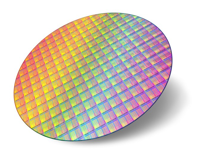 Silicon wafer on white background